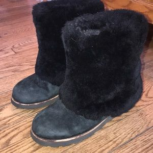 UGG Black Furry Boots Size 9